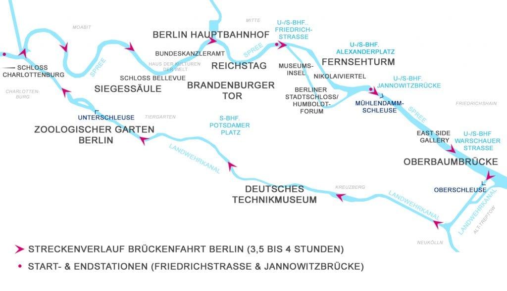 Spreefahrten Berlin Friedrichstraße - Streckenverlauf Brückenfahrt Berlin