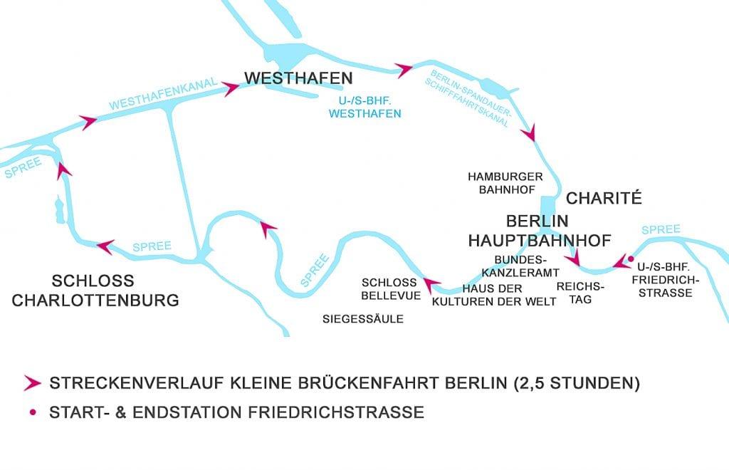 Spreefahrten Berlin Friedrichstraße - Streckenverlauf kleine Brückenfahrt Berlin