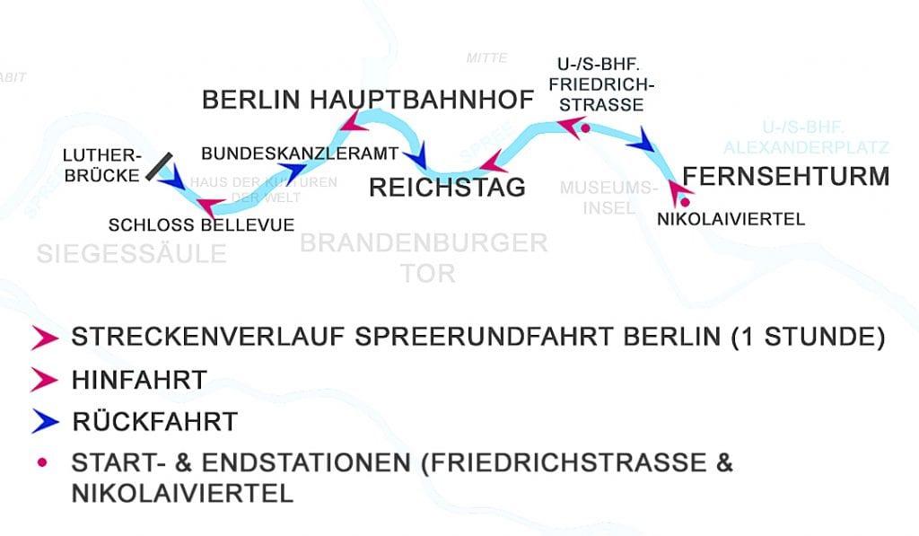 Spreefahrten Berlin Friedrichstrasse - Streckenverlauf Spreerundfahrt Berlin