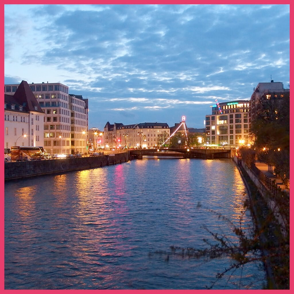 Berlin Boat Tour Night - River Spree near Pier Friedrichstraße